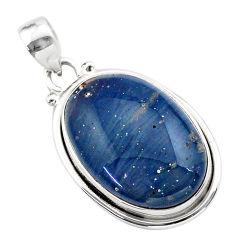 925 sterling silver 16.23cts natural blue swedish slag oval pendant t38779