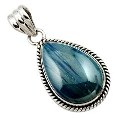 925 sterling silver 17.18cts natural blue swedish slag pear pendant r27684
