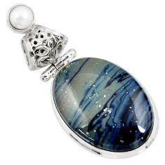 925 sterling silver 17.57cts natural blue swedish slag pearl pendant d39379