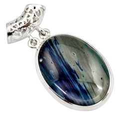 925 sterling silver 24.00cts natural blue swedish slag pendant jewelry d42047