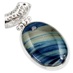 925 sterling silver 18.68cts natural blue swedish slag pendant jewelry d42053