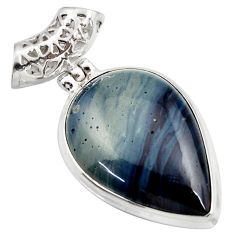 Clearance Sale- 925 sterling silver 20.65cts natural blue swedish slag pendant jewelry d42059