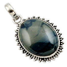 925 sterling silver 16.73cts natural blue swedish slag pendant jewelry r27694