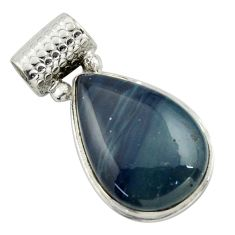 925 sterling silver 17.42cts natural blue swedish slag pendant jewelry r41704