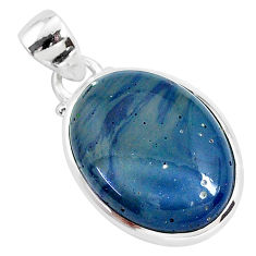 925 sterling silver 12.07cts natural blue swedish slag pendant jewelry r94533