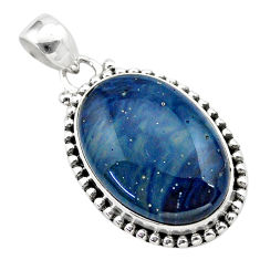 925 sterling silver 16.06cts natural blue swedish slag pendant jewelry t38743
