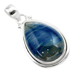 925 sterling silver 16.68cts natural blue swedish slag pendant jewelry t38776
