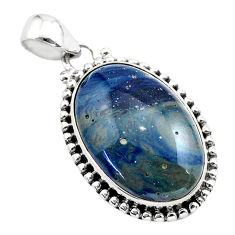 925 sterling silver 17.18cts natural blue swedish slag pendant jewelry t38798