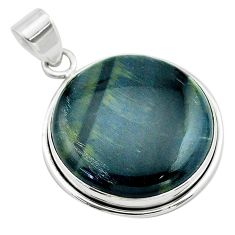 925 sterling silver 22.02cts natural blue swedish slag pendant jewelry t53551