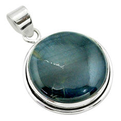 925 sterling silver 17.50cts natural blue swedish slag round pendant t53557