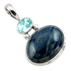 925 sterling silver 15.65cts natural blue swedish slag topaz pendant r27697