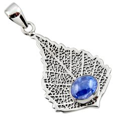 925 sterling silver 3.13cts natural blue tanzanite deltoid leaf pendant r48368