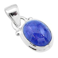 925 sterling silver 4.31cts natural blue tanzanite oval pendant jewelry t19023