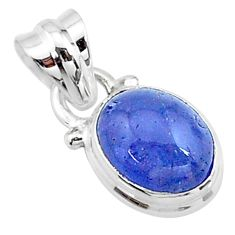925 sterling silver 4.96cts natural blue tanzanite oval pendant jewelry t19038