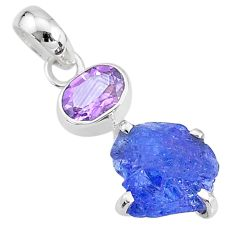 925 sterling silver 7.50cts natural blue tanzanite raw amethyst pendant t6988