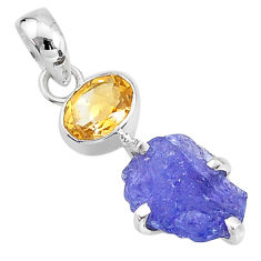 925 sterling silver 7.50cts natural blue tanzanite raw citrine pendant t6978