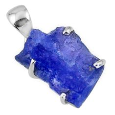 925 sterling silver 14.20cts natural blue tanzanite rough fancy pendant r56684