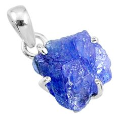 925 sterling silver 10.42cts natural blue tanzanite rough fancy pendant r65085