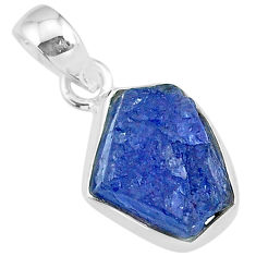925 sterling silver 7.13cts natural blue tanzanite raw fancy pendant r91710