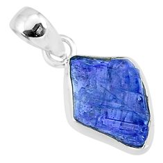 925 sterling silver 6.09cts natural blue tanzanite raw fancy pendant r91718
