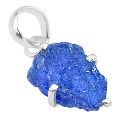 925 sterling silver 6.67cts natural blue tanzanite raw fancy pendant r91731