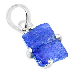 925 sterling silver 5.59cts natural blue tanzanite raw fancy pendant r91738