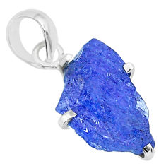 925 sterling silver 7.67cts natural blue tanzanite raw pendant jewelry r91735