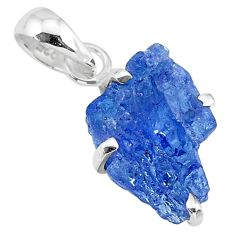 925 sterling silver 7.26cts natural blue tanzanite raw pendant jewelry r91756