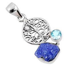 925 sterling silver 5.96cts natural blue tanzanite rough topaz pendant r62000