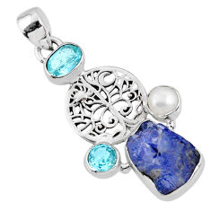 925 sterling silver 11.21cts natural blue tanzanite rough topaz pendant r62057
