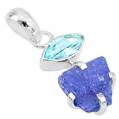 925 sterling silver 7.47cts natural blue tanzanite raw topaz pendant t7000
