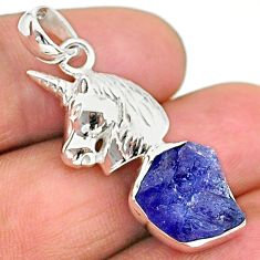 925 sterling silver 6.36cts natural blue tanzanite raw unicorn pendant t17136