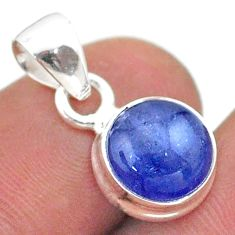 925 sterling silver 4.71cts natural blue tanzanite round pendant jewelry t44683