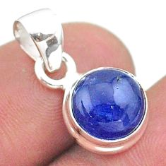 925 sterling silver 5.49cts natural blue tanzanite round pendant jewelry t44692