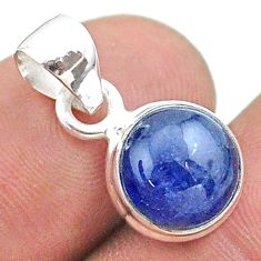 925 sterling silver 5.09cts natural blue tanzanite round pendant jewelry t44700