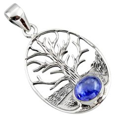 925 sterling silver 3.16cts natural blue tanzanite tree of life pendant r48364