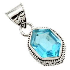 925 sterling silver 11.52cts natural blue topaz fancy pendant jewelry d45204