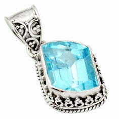 925 sterling silver 7.36cts natural blue topaz fancy pendant jewelry r20683