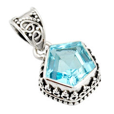 925 sterling silver 6.16cts natural blue topaz fancy pendant jewelry r20693