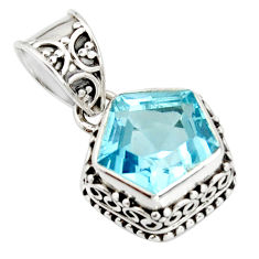 925 sterling silver 5.75cts natural blue topaz fancy pendant jewelry r20699