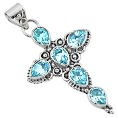 925 sterling silver 6.83cts natural blue topaz holy cross pendant jewelry r55972