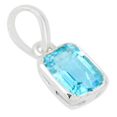 925 sterling silver 1.92cts natural blue topaz octagan handmade pendant t7667