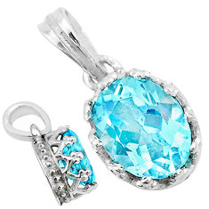 925 sterling silver 2.46cts natural blue topaz oval crown pendant jewelry t8087