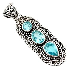 Clearance Sale- 925 sterling silver 5.01cts natural blue topaz oval pendant jewelry d44824