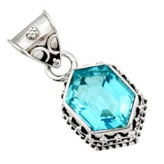 925 sterling silver 10.89cts natural blue topaz oval pendant jewelry d45208