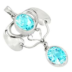 925 sterling silver 6.78cts natural blue topaz oval pendant jewelry r26350
