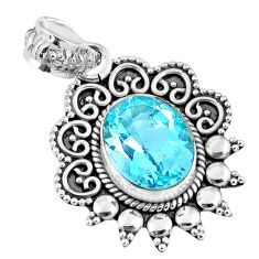 925 sterling silver 5.63cts natural blue topaz oval pendant jewelry r57826