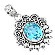 925 sterling silver 5.10cts natural blue topaz oval pendant jewelry r57849