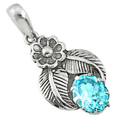 925 sterling silver 2.09cts natural blue topaz oval pendant jewelry r67639