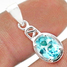 925 sterling silver 1.91cts natural blue topaz oval pendant jewelry t51420